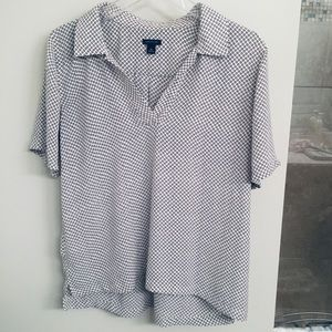 Ann Taylor White Collared Blouse with Black Dots